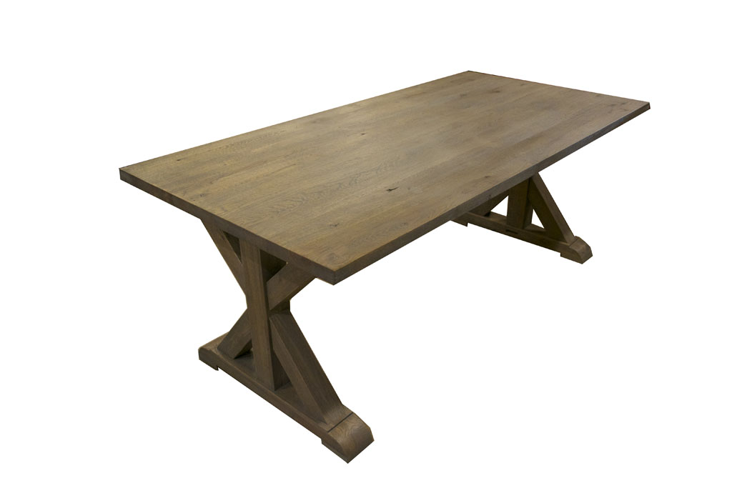 Eiken kruispoot tafel bankstel gigant - Eetkamer tegel ...